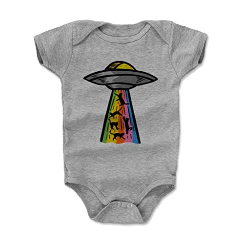 (Funny Cat Baby Clothes, Onesie, Creeper, Bodysuit - Cats UFO (Heather Gray, 3-6 Months))