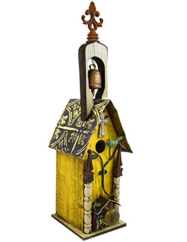 (Modern Artisans Rustic Mission Birdhouse with Steeple Bell, American Made Reclaimed Wood, 27