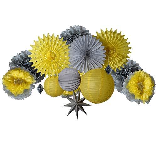 PAPER JAZZ Yellow Grey Paper Flower Fan Lantern kit for Birthday Baby Shower Wedding Party Decor - Yellow Pinwheel