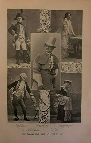 - 1896 Vintage Magazine Illustration Actor Joseph Jefferson & Cast of The Rivals