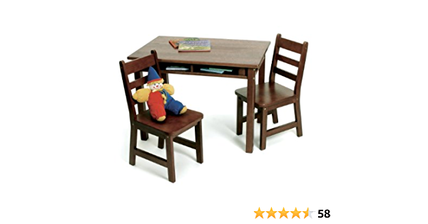 Amazon Com Lipper International Child S Rectangular Table With Shelves And 2 Chairs Walnut Finish Furniture Decor