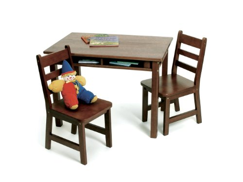 Lipper International 534WN Child's Rectangular Table with Shelves and 2 Chairs, Walnut (Mdf Rectangular Table)