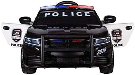 Babycar Coche de policía (negro) 12 V con mando a distancia 2,4 GHz sirena – Intermitente – MP3 – Altavoz – Puertas abatibles: Amazon.es: Juguetes y juegos
