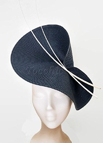 Image Unavailable. Image not available for. Colour  White and Navy blue  fascinator d3d049825b3