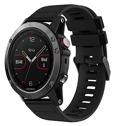 OenFoto Band Compatible Fenix 5 22mm, Soft Silicone Replacement Wristband for Garmin Fenix 5/Fenix 5 Plus/Forerunner 935/Approach S60/Quatix 5, Black