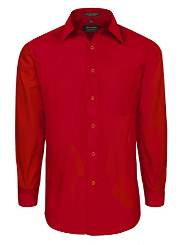 Classic Fit Dress Shirt with Convertible Cuffs - Red Medium 32/33