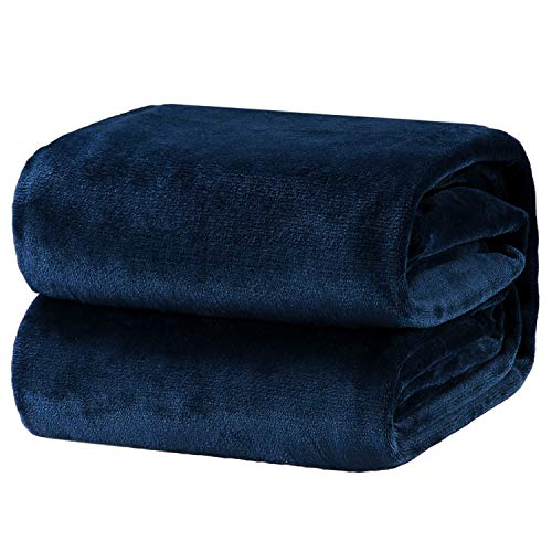 Buy Cheap Bedsure Flannel Fleece Luxury Blanket Navy Twin Size Lightweight Cozy Plush Microfiber Sol...