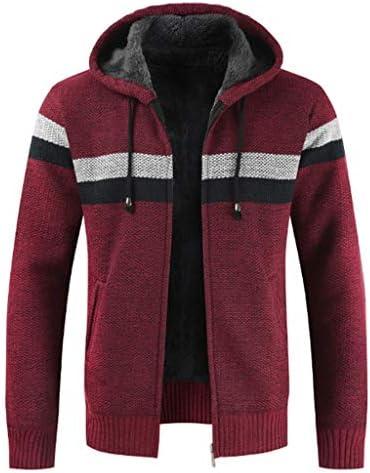暖かいニットウェアスリムフィット 裏地メンズ冬の厚手のパーカーコートフルジップスリムフィットカーディガンスタイリッシュなストライプ長袖セーターサーマルフリースはポケット付きジャケットトップス 大きいサイズ (Color : A, Size : L)