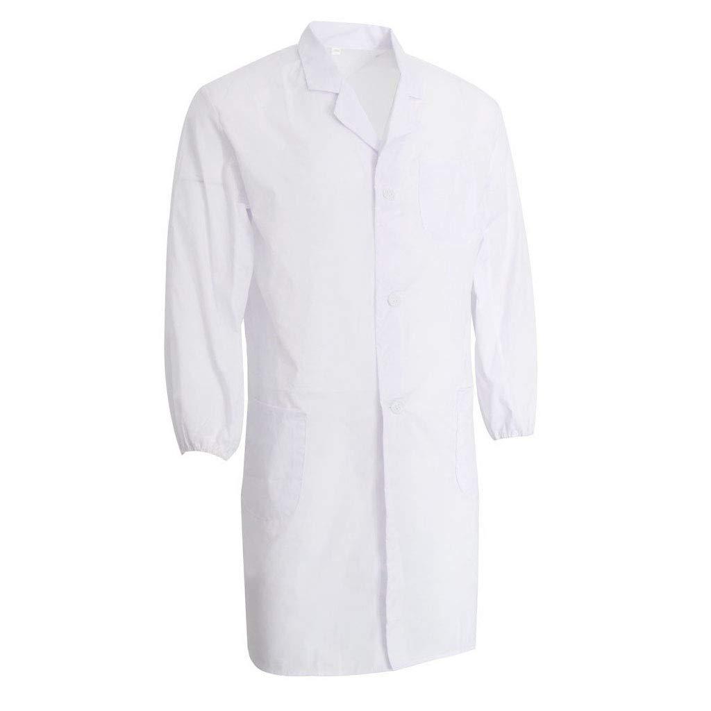 Sharplace Uniforme Infermiera Unisex Manica Lunga Camice Bianco Cappotto Medico Infermiera Uniforme - L non-brand