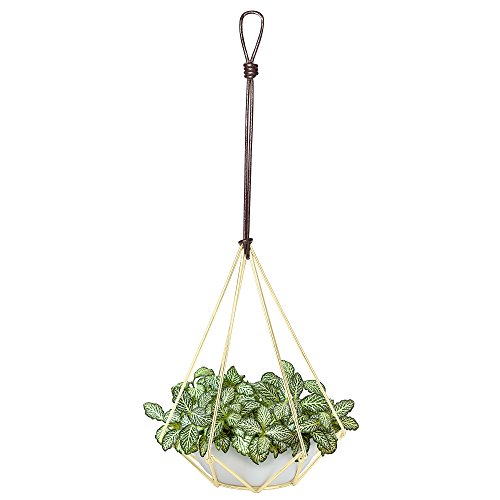 Nellam Ceramic Planter - Modern Geometric Hanging Pot Basket with Brass Wire & Leather Hanger - for Artificial & Indoor Wall Plants, Outdoor Balcony & Patio, Flowers, Herb Garden, Plants, Succulent (Basket Brass Vintage)