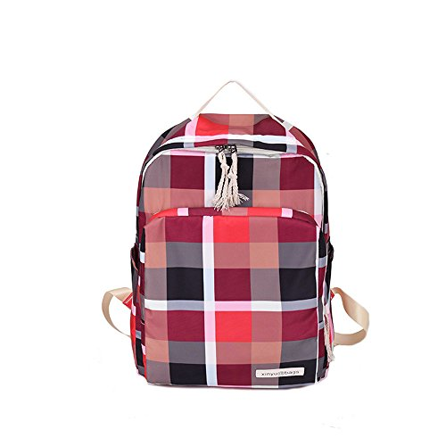 Meaeo Bolso De Estudiante Mochila Pequeña Bolso De Tela Escocesa Mochila Simple Negro Red