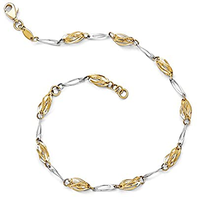 top Black Bow Jewelry 14k Two Tone Gold 5mm Polished Fancy Twisted Link Anklet, 10 Inch save more