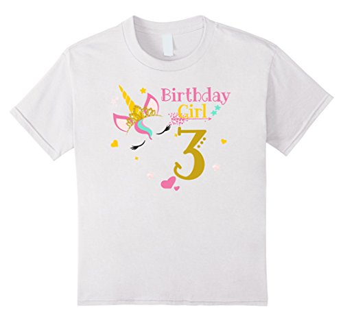Kids Unicorn 3rd Birthday Shirt Girl T 3 Yrs 4 White