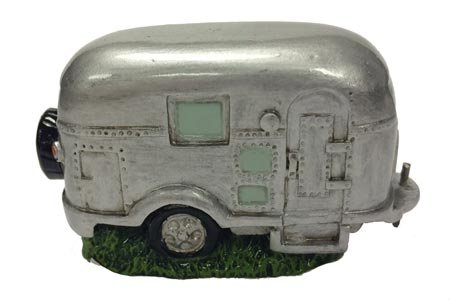 Country Axentz Silver Vintage RV Camper Trailer Miniature Collectible Figurine, -