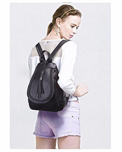 MSZYZ Schultertasche, weibliche Mode, kleiner Rucksack, personalisierte doppelten Zweck Brust Beutel, Reisetasche, Schwarz/ein