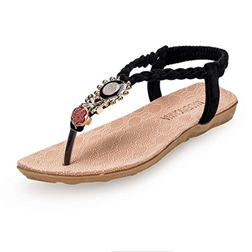 Ama (tm) Dames Zomer Bohemen Zoet Kralen Sandalen Casual Clip Neus Platte Sandalen Strandschoenen Zwart