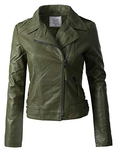 Instar Mode Women's Long Sleeves Asymmetrical Zipper Closure Biker Faux Leather Jacket Olive L