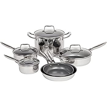 Maker Homeware 10 Piece Stainless Steel Cookware Set With Nonstick Ceramic Coating