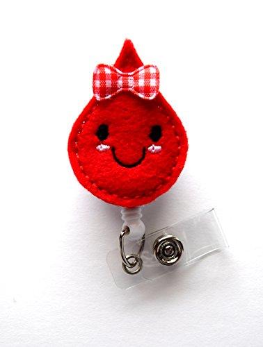 Blood Drop - Betty Blood Drop - Retractable ID Badge Reel - Teacher Badge Holder - Cute Badge Reel - Nurse Badge Holder - Nursing Badge Clip - Felt Badge