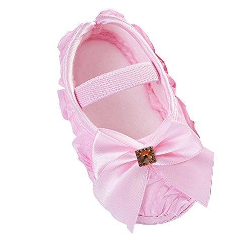 Zhhlinyuan Cute Girls Bebé Soft Sole Shoes Toddler Silk Crib Shoes Princess shoes Pink