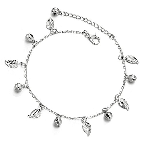 - COOLSTEELANDBEYOND Unique Link Chain Anklet Bracelet with Dangling Charms of Leaves and Jingle Bells, Adjustable