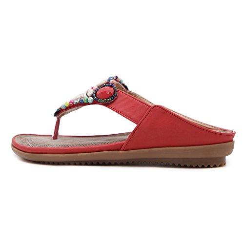 Belloo Damen Sommer Strand Flip Flops Boho Sandalen Flach Zehentrenner mit Muscheln Blumen Rot