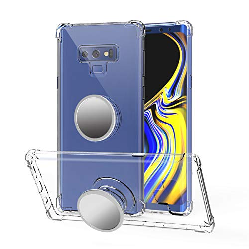 Galaxy Note 9 Case Clear,Galaxy Note 9 Case Kickstand,Yetolee Premium Soft TPU Protecive Shockproof Case with Stand Grip Iron Mirror [Fit Car Mount] for Galaxy Note 9 2018 Clear