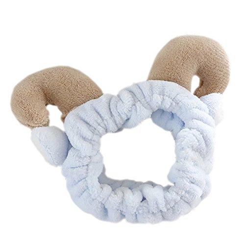 Kawaii Curved Sheep Horns Wash Headband Soft Animal Elastic Hairband For Womens Cosmetic Shower -