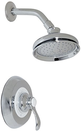 Kohler TS12014-4-CP K-TS12014-4-CP Fairfax Rite-Temp Shower Valve Trim with Lever Handle and 2.5 gpm showerhead Polished Chrome