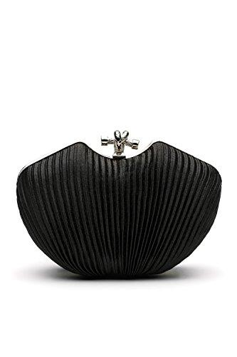 Shoulder Straps Satin (Women Clutch Purse Pleated Satin Evening Bag Glitter Handbag With Chain Strap (black))