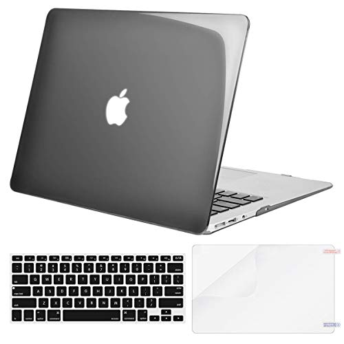 MOSISO Plastic Hard Shell Case & Keyboard Cover & Screen Protector Only Compatible with MacBook Air 13 inch (Models: A1369 & A1466, Older Version 2010-2017 Release), Transparent Black
