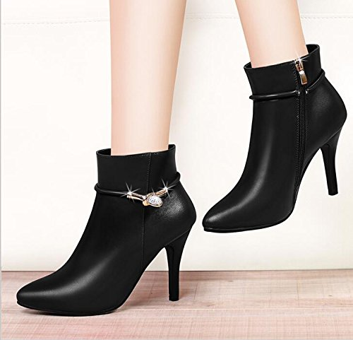 KHSKX-Black 7Cm With The Fleece Ladies Boot The Korean Version Of The Female Boots High-Heeled Shoes Fine And Warm Boots Shoes. 36 F5V7NDU