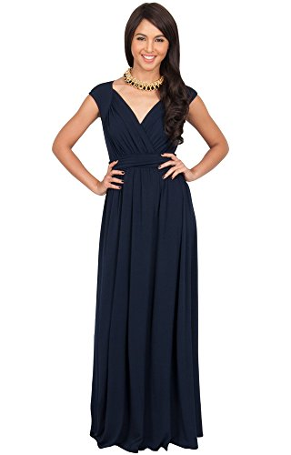 KOH KOH Plus Size Womens Long Cap Short Sleeve Elegant Cocktail Evening Gown Sleeveless Brides Ballroom V-neck Empire Waist Dresses Maxi Dress, Color Navy Blue, Size 3X Large 3XL 22-24