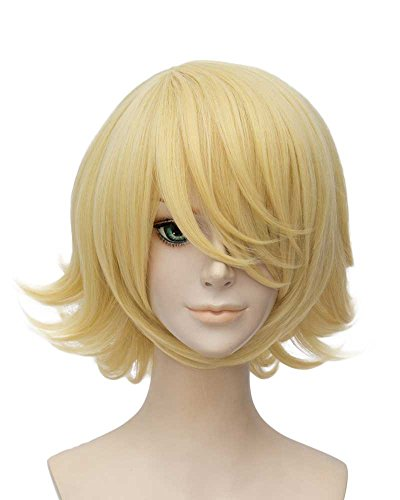Tsnomore Short Straight Anime Cosplay Costume Halloween Unisex Wig short blonde wigs for women (Blond Curly)]()