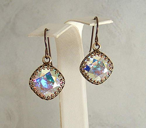 Aurora Borealis 12mm Square Cushion Cut Earrings Made With Swarovski Crystal Gift Idea BR