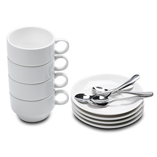 Take Coffee Along Set - Aozita Espresso Cups and Saucers with Espresso Spoons, Stackable Espresso Mugs,12-piece 2.5-Ounce Demitasse Cups (Protective packaging)