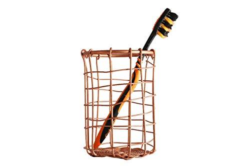 GoCraft Handmade Toothbrush Holder/Pen Pencil Holder | Thanksgiving Gifts/Black Friday Sale | Chicken Wire Metal Pencil Holder Pen Organizer for Desk Office | Antique Copper ()