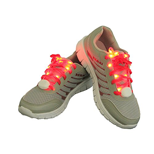 Price comparison product image LED Light Shoelaces 3 Flashing Modes for Hip-hop Dancing Disco Party Cycling Running Skating(Red)