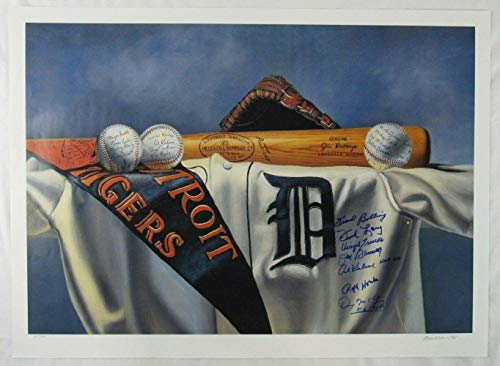 Tigers Greats Signed 21x29 Lithograph Print Al Kaline Jim Bunning Ralph Houk +4 - Autographed MLB - Print Lithograph Tigers