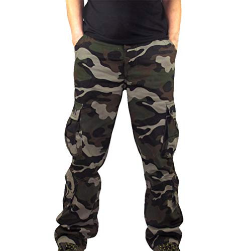 Pervobs Mens Pant, Clearance! Men Casual Camouflage Sports Work Overalls Sweatpants Trouser Pants with Pockets (38, Army ()