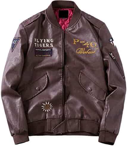 7d7ff1072a Jaycargogo Mens Long Sleeve Embroidery Stand Collar Zip Up Faux Leather  Jacket