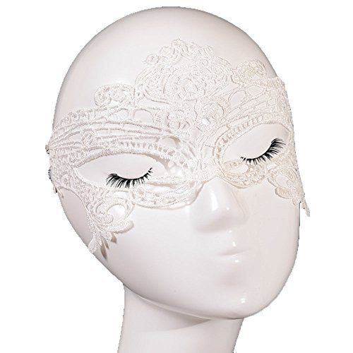 Himine Women's Masquerade Party Fashionable Sexy Hollow-Out Lace Mask (Lace-White) -