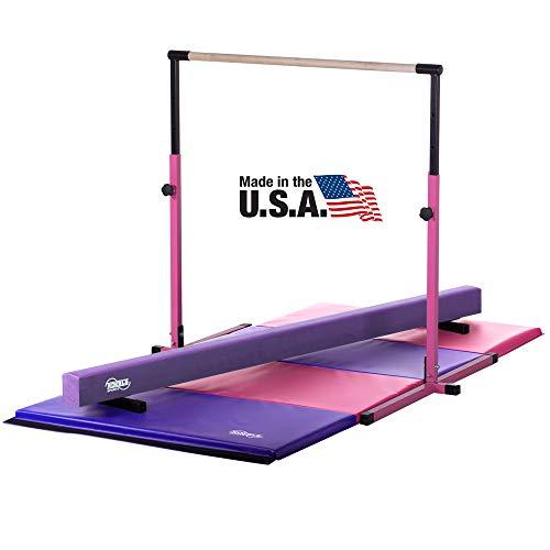 Little Gym - Adjustable Horizontal Bar - Purple Low Balance Beam - Pink/Purple Gymnastics Folding Mat (Gymnastic Set)