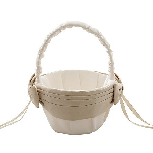 MLQM Ivory and Champagne Flower Girl Baskets for Weddings with Bowknot