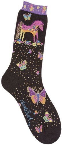 Laurel Burch Women's Single Pack Lively Nature Crew Socks, Mythical - Mythical Laurel Horses Burch