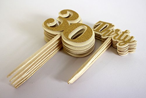 All About Details Gold Thirty Cupcake Toppers, Set of 12