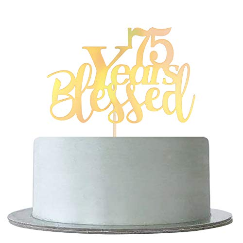 Mirror Gold 75 Years Blessed for Marriage Anniversary, 75th Birthday,Anniversary Party Decoration Supplies -