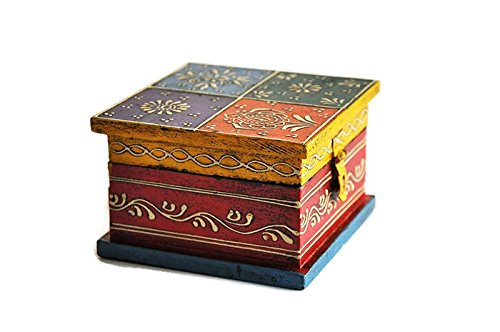 Handpainted Square Wooden Multicolored Jewelry Box, Keepsake Trinket Box, Decorative Box, Christmas Gift for her, Home - In Made India Model