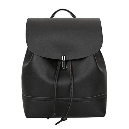 Casual Sunshinehomely Leather Vintage Bag Drawstring Backpack Shoulder Women School New Bag Black Women Trave Satchel Bag Iqr7I