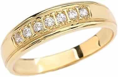 14k Yellow Gold Diamond Wedding Band For Him